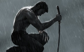 Wallpaper rain, sword, sitting, The Wolverine, steel claws, Wolverine: The Immortal