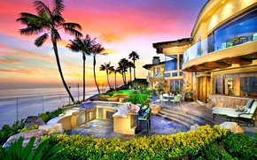 Picture palm trees, the ocean, Villa, the evening
