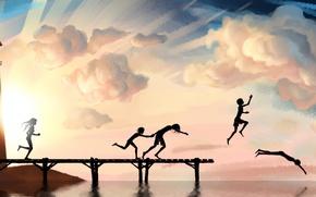 Wallpaper diving, children, background, pierce, Wallpaper, sea, figure, mood, summer, joy, the sky, river, art. picture