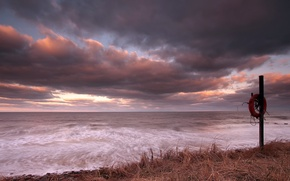 Picture sea, sunset, shore, round