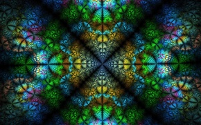 Picture green, background, pink, texture, fractals, symmetry, blue, yellow