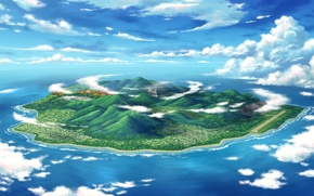 Picture sea, clouds, view, island, height, art