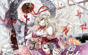 Picture turntables, mask, bow, red eyes, long hair, touhou, art, strikingly is wait, chihiro