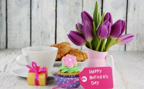 Picture flowers, flowers, holiday, cake, croissant, cake, mother's day, holiday, mother's day, box, dessert, dessert, gift, ...