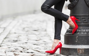 Picture girl, heels, legs, red shoes