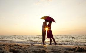 Picture sand, sea, beach, summer, water, girl, love, river, umbrella, background, widescreen, Wallpaper, romance, mood, woman, …