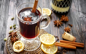 Picture winter, wine, lemon, sticks, drink, cinnamon, spices, star anise, Anis, mulled wine