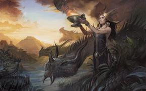Picture girl, woman, dragon, figure, the victim, swamp, ritual, fantasy, art, Maya, pyramid, priestess, the Aztecs, …
