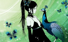 Picture feathers, girl, peacock, black dress, long hair, art, Different Kamijo Is