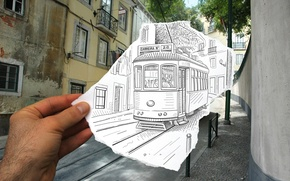Picture photo, figure, tram, the combination