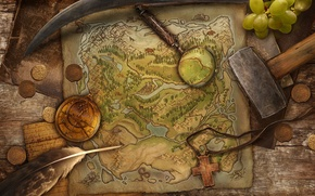 Picture pen, the game, map, cross, grapes, hammer, coins, treasure, compass
