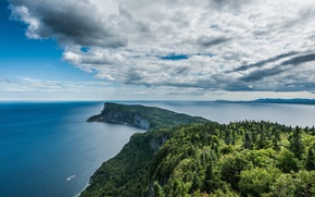 Picture the sky, water, clouds, trees, rocks, Cape