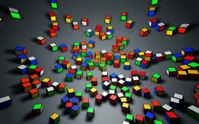 Picture cube, Rubik's cube, rendering, cinema 4d, cinema 4D, Rubik, pieces, rubick's cube, cube, rendering, cinema, …