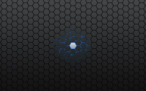 Picture blue, grey, hexagon