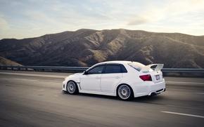 Picture photo, movement, speed, white, subaru, cars, auto, wrx, impreza, cars walls, sedan, sti, Wallpaper HD, …