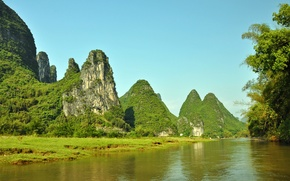 Picture greens, summer, the sky, the sun, mountains, river, rocks, blue, China, Xingping, Li River