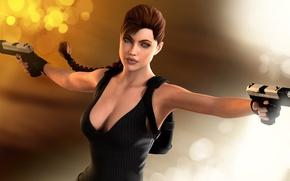 Picture girl, glare, rendering, background, guns, Angelina Jolie, Tomb Raider, 3D model, Lara Croft, art by …