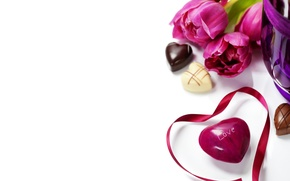 Picture love, flowers, chocolate, tulips, valentine's day