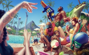 Picture summer, pool, party, lol, league of legends