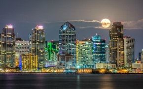 Picture the moon, building, CA, night city, skyscrapers, California, San Diego, San Diego