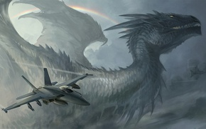 Picture the plane, dragon, rainbow, missiles, f/a 18, sandara, hybrid rainbow