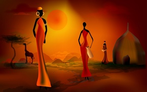 Picture women, sunset, silhouette, hut, Africa
