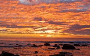 Picture beach, twilight, sea, ocean, sunset, seascape, clouds, rocks, surfing, dusk, horizon, sufer