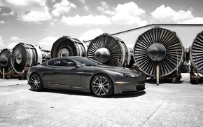 Picture the sky, clouds, grey, Aston Martin, DBS, Aston Martin, side view, sky, grey, clouds, DBS