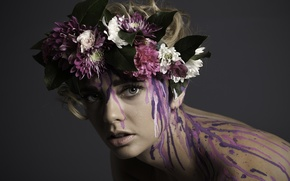 Picture look, flowers, paint, wreath, Brooklyn Haart