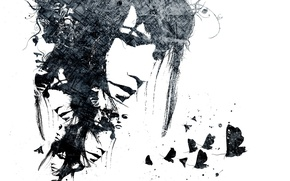 Picture girl, butterfly, face