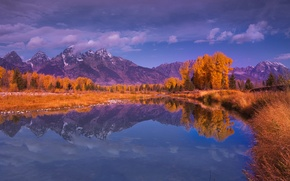 Picture autumn, forest, the sky, trees, mountains, lake, reflection