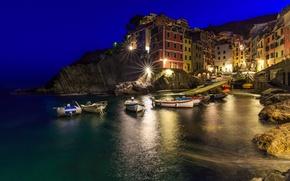 Picture sea, night, lights, home, Bay, Italy, Riomaggiore, Cinque Terre, Genoa Bay, The Ligurian coast