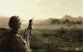 Wallpaper field, mountains, weapons, art, machine, Soldiers