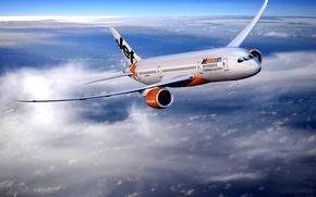 Wallpaper Jetstar, Flight, The plane, The sky, Height, Airways, Clouds
