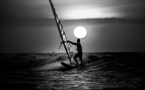 Picture wave, clouds, sunset, Windsurfing, extreme sports, Windsurfing