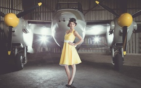 Picture girl, dress, the plane, Vintage