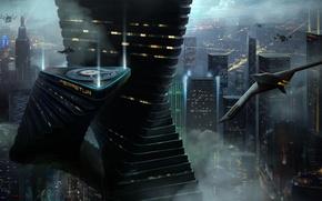 Picture the city, future, transport, ship, art, megapolis