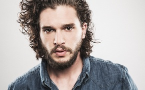 Picture look, close-up, face, background, Paris, portrait, actor, beard, photoshoot, shirt, Kit Harington, Kit Harington, 2015, …