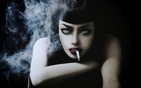 Picture girl, model, smoke, cigarette, Wylon To Hayashi