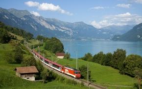 Wallpaper house, greens, river, mountains, train