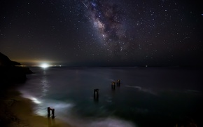 Picture sea, stars, night, space, the milky way