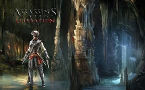 Picture water, cave, Ubisoft, assassin, Avelina de Granpre, Assassins Creed:Liberation HD