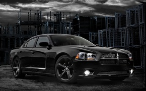 Picture the sky, black, 2012, Dodge, dodge, charger, the front, Blacktop, charger, version, special, blacktop, substation