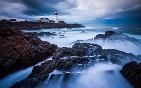 Picture storm, the ocean, rocks, lighthouse