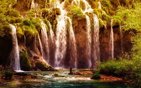 Picture forest, waterfall, Croatia, Plitvice National Park