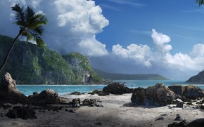 Wallpaper sea, Stones, mountains, clouds, Palma