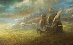 Wallpaper the sky, field, ship