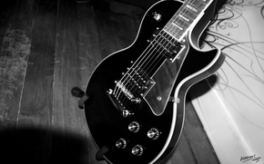 Picture style, guitar, black and white, strings, case, tool, Grif, music