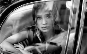 Wallpaper glass, actress, photographer, black and white, car, journal, photoshoot, Alicia Vikander, Alicia Vikander, Tom Craig, ...