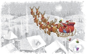 Picture holiday, figure, home, sleigh, Santa Claus, deer
